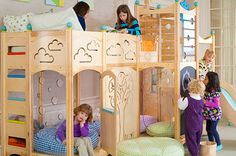 rhapsody bunk bed with ladder, slide, chalkboard, tree by cedarworks Playhouse Furniture, Play Beds, Kids Indoor Playground, Cool Bunk Beds, Kids Play Area, Kids Bedroom, Kids Rooms, Bedroom Ideas, Cool Rooms
