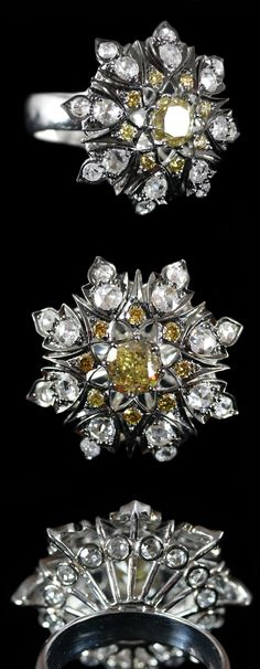 Rose Cut Yellow & White Diamond Star Ring accompanied by a total of 3.10 carats of Diamonds. Set in 18 karat White Gold.