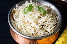 Jeera rice is a simple to make but extremely flavorful Indian rice recipe. It goes very well with any spicy gravy you can think of. Veg Recipes, Easy Dinner Recipes, Indian Food Recipes, Asian Recipes, Cooking Recipes, Ethnic Recipes, Indian Foods, Cooking Games, Curry Recipes