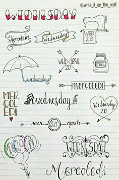 some inspiration for your next wednesday! _ un po' d'ispirazione per il vostro prossimo mercoledì Bullet Journal Décoration, Lettering Brush, Sketch Note, School Notes, Bullet Journal Inspiration, Banners, Scrapbook, Letters, Drawings