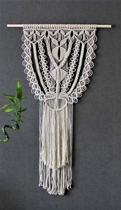 Macrame wall hanging on bamboo dowel – Giant – Bohemian macrame wall hanging – Handmade – Wall Art – Boho Macrame home decor – Ivory – White - bridalshower Macrame Design, Macrame Art, Macrame Projects, Macrame Wall Hanging Patterns, Macrame Patterns, Art Macramé, Modern Macrame, Macrame Curtain, Boho Diy
