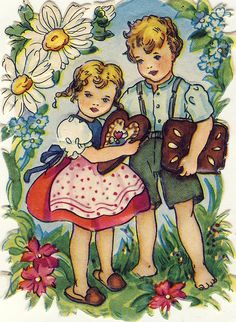♥ Vintage German die cut of Hansel & Gretel with gingerbread