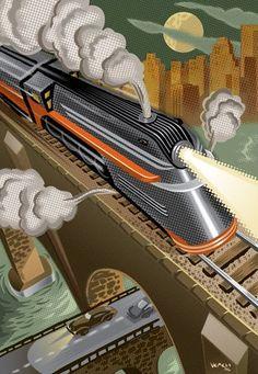 ~ Living a Beautiful Life ~ Art Deco Train Poster Art Deco Illustration, Design Illustrations, Illustrations Posters, Retro Kunst, Retro Art, Kunst Poster, Poster S, Art Nouveau, Art Deco Posters