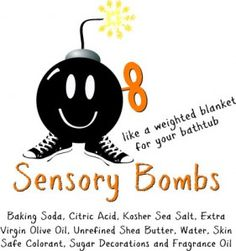 """Sensory Bombs are calming tools that offer a highly effective sensory experience. In essence, they are like a weighted blanket for the bathtub; they make the water heavier and provide evenly distributed pressure that """"hugs"""" the muscles and joints. As a result, the child is relaxed, moisturized and able to transition into a restful sleep."""