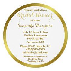 Modern Elegant Gold Foil Bridal Shower Personalized Announcement