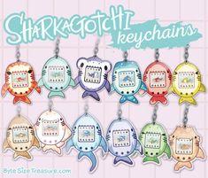 Sharkagotchi - Cute Shark Personal Pet Tamagotchi Parody - Acrylic Keychains by ByteSizeTreasure Acrylic Keychains, Acrylic Charms, Clear Acrylic, Kawaii Jewelry, Kawaii Accessories, Cute Shark, Virtual Pet, Shark Party, Cute Keychain