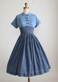 Vintage 1950s Striped Chambray Cotton Day Dress