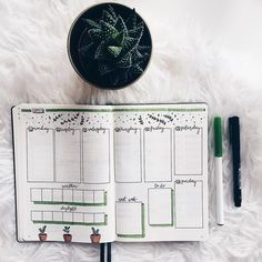 Bullet journal weekly layout, plant drawings, cursive daily headers, daylight tracker, sleep tracker, weekly tasks. | @bujowithfia