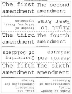 This set of flash cards will help you memorize the rights set forth in the Bill of Rights, the first 10 amendments to the U.S. Constitution. Free to download and print
