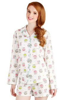 Much Owl So Amaze Pajamas. Cozy up with your pup for a night in wearing these white pajamas! #white #modcloth