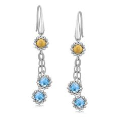 18K Yellow Gold and Sterling Silver Flower Motif Blue Topaz Dangling Earrings