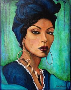 Angela Bassett as Marie Laveau, the Voodoo Queen of New Orleans - as seen in American Horror Story Coven. Gorgeous blues and greens celebrate the legendary Queen of Voodoo. The original painting is 11 x 14 on canvas, in acrylic. Marie Laveau, African American Artist, American Artists, Black Women Art, Black Art, Art Women, Black Girls, Voodoo Priestess, Angela Bassett