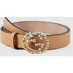 Gucci Leather Belt With Studded Interlocking G Buckle ($410) ❤ liked on Polyvore featuring accessories, belts, women's belts, buckle belt, gucci belt, studded leather belt, leather buckle belt und leather belt