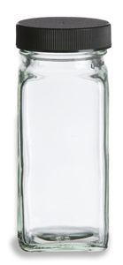 4 oz Glass French Square Spice Jar with Shaker and Black Lid