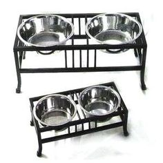 Elegant and sturdy elevated dog feeders features a wrought iron frame and removable stainless steel bowls in 1 or 3 quarts. Elevated Dog Feeder, Elevated Dog Bowls, Dog Bowl Stand, Better Posture, Pet Feeder, Dog Accessories, Wrought Iron, Pet Supplies, Grades