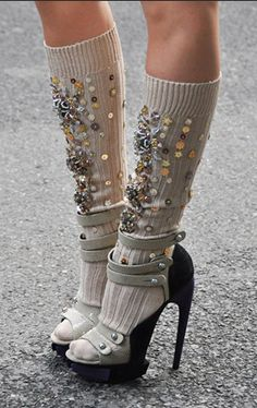 Maybe after 2months of slimming sessions, I may be inspired to embroider these metallic sequins onto my old pair of socks.haha