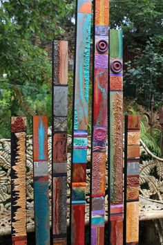 Abstract Geometric Expressionism Mid Century Installation Modern Kahlo Kolor Set of 6 Wood & Metal Glazed Wall Textured Sculptural Sticks Peace Pole, Yard Sculptures, Ceramic Sculptures, Carpe Koi, Garden Poles, Glazed Walls, Metal Yard Art, Metal Art, Mexican Artists