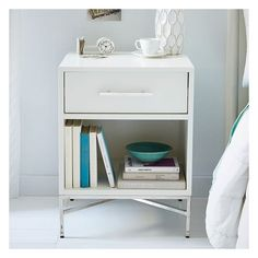 West Elm City Storage Nightstand, White, Nightstand - Nightstands -... (8 130 UAH) ❤ liked on Polyvore featuring home, furniture, storage & shelves, nightstands, white, white night table, white lacquer nightstand, lacquer nightstand, hardware furniture and lacquer furniture