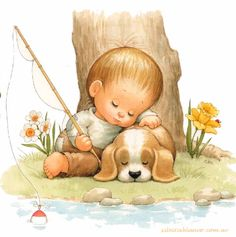 Fishing/Sleeping by Ruth Morehead. Cute Images, Cute Pictures, Bing Images, Art Mignon, Sarah Kay, Holly Hobbie, Cute Illustration, Vintage Children, Cute Cartoon