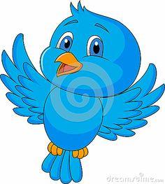 Cute blue bird cartoon by Tigatelu, via Dreamstime