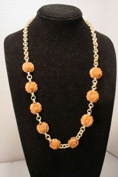 Vintage  Celluloid Chain with Molded Plastic Roses Necklace    eBay