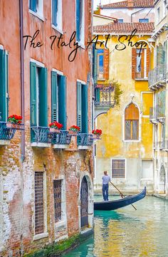 A gondolier finds his way through the small canals of Venice.  For more information on this fine art print, visit The Italy Art Shop on Etsy!