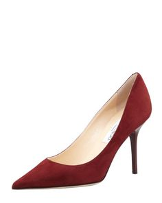 Agnes Suede Pointed-Toe Pump, Claret by Jimmy Choo at Neiman Marcus.