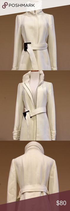 Zara Women's Small Off White Knee Length Coat Zara Women's Small Off White Knee Length Coat. The coat and belt are in Excellent Condition. No rips, no stains, etc. It will fit a teen or woman size 2/4. The color is a very light off white. Zara Jackets & Coats Pea Coats