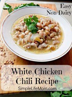 Easy Non Dairy White Chicken Chili Recipe - Simple Life Mom