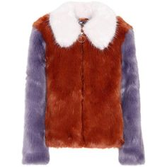 LPA Faux-Fur Jacket ($445) ❤ liked on Polyvore featuring outerwear, jackets, jacket's, multicoloured, faux fur jacket, multi coloured faux fur jacket, multi coloured jacket, red faux fur jacket and multi-color leather jackets