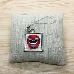 Red Power Ranger Cross Stitch | Keyring  #crossstitch  #handmade #minicrossstitchbyvera #minicrossstitch  #minicrossstitch  #xstitch #jewelrymaking #jewelry #keyring #keychain Mini Cross Stitch, Power Rangers, Cufflinks, Coin Purse, Wallet, Purses, Red, Accessories, Jewelry