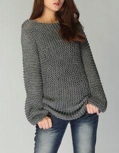 Hand knit woman sweater - Eco cotton long Mocha sweater - Gabriela Valencia Santiago - Image Sharing World Hand Knitted Sweaters, Long Sweaters, Sweaters For Women, Cotton Sweater, Pull Long, Handgestrickte Pullover, Knitting Patterns, Crochet Patterns, Chunky Yarn