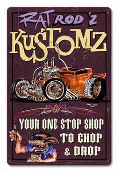 VINTAGE STYLE METAL SIGN Rat Rod Chop Shop 14 x 18