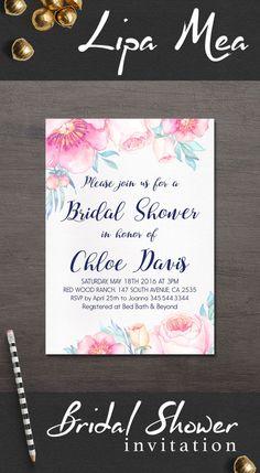 Floral Bridal Shower Invitation, Printable Bridal Shower Invitation, Boho Bridal…