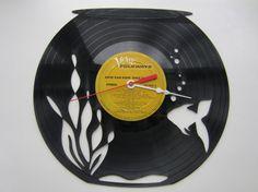 Fishbowl Recycled Record Clock by RecordTimeClocks on Etsy, $30.00
