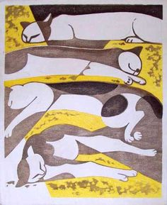 Four Sleeping Cats | woodcut print | Tomoo Inagaki