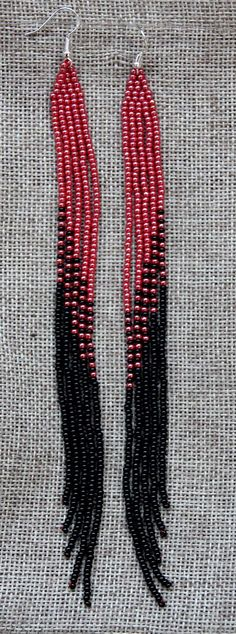 Native American Earrings extra Long Red and black earrings new