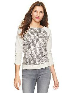 I like the pattern to this…adds interest and a great neutral color! Dot embellished pullover | Gap