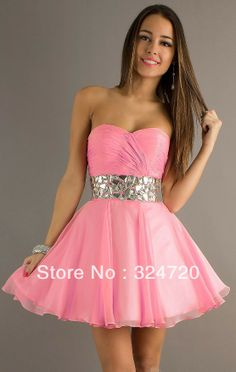 damas dresses pink ruffles | -pink-chiffon-beaded-sequins-short ...