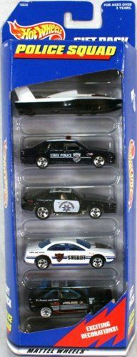 Hot Wheels Police Squad 5 Car Gift Pack 1:64 Scale Collectible Die Cast Cars by Mattel. $40.49. Hot Wheels Police Squad 5 Car Gift Pack 1:64 Scale Collectible Die Cast Cars. From 1997