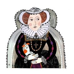 Mary Queen of Scots Cut paper collage by Amanda White. www.amandawhite-contemporarynaiveart.com