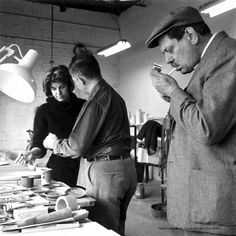 Artist Helen Frankenthaler, owner David Gil and artist David Smith at Bennington Pottery, Vermont. via In December 1964 the editors of Art in America posed the question, What would happen if a group of prominent American painters and sculptors were asked to work in ceramics? Frankenthaler and Smith were two of the artists who participated.