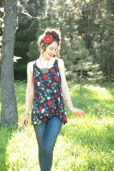 Floral Tank Top Soft Flowing Rayon Poppy Print by AstralBoutique, $22.00