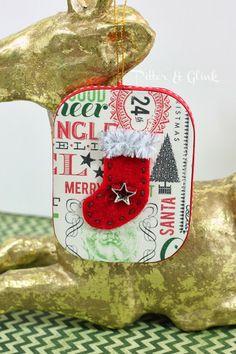 DIY Vintage-Inspired Paper Mache Stocking Ornament from Pitter & Glink http://www.Pitterandglink.blogspot.com