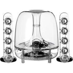 Harman Kardon SoundSticks Wireless Bluetooth Enabled 2.1 Speaker System Integrated Bluetooth technology for high performance wireless connectivity. 6-Inch (150mm) down-firing subwoofer for deep bass. Eight full-range transducers for crystal clear sound. Elegant touch controls for volume and mute. Awe-inspiring industrial design. 1/8-Inch (3.5mm) stereo audio connection.  #Harman_Kardon #Personal_Computer