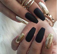 Acrylic black and gold metallic nails