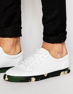 d97c71d1ecb50b Image 1 of ASOS Lace Up Sneakers in White With Khaki Camo Sole Lace Up  Trainers