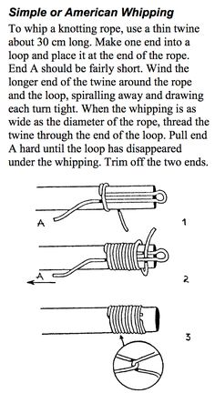 A great guide on whipping rope. I'm going to be using this technique to prevent my sisal rope (for my DIY cat scratch pole) from fraying.