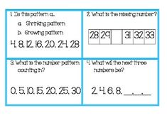 28 task cards for students to practice growing and shrinking number patterns and number sequences.Includes ones, tens and hundreds numbers. On and off the decade. Grade 6 Math, Second Grade Math, Grade 2, Math Math, Math Patterns, Number Patterns, Teaching Numbers, Math Numbers, Teaching Reading