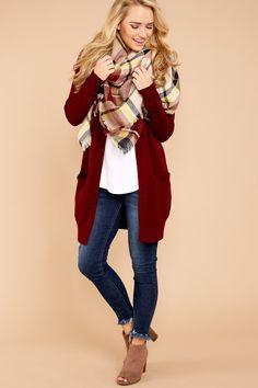 be5dec125c 1 Cozy Vibes Burgundy Cardigan at reddressboutique.com Burgundy Jeans  Outfit